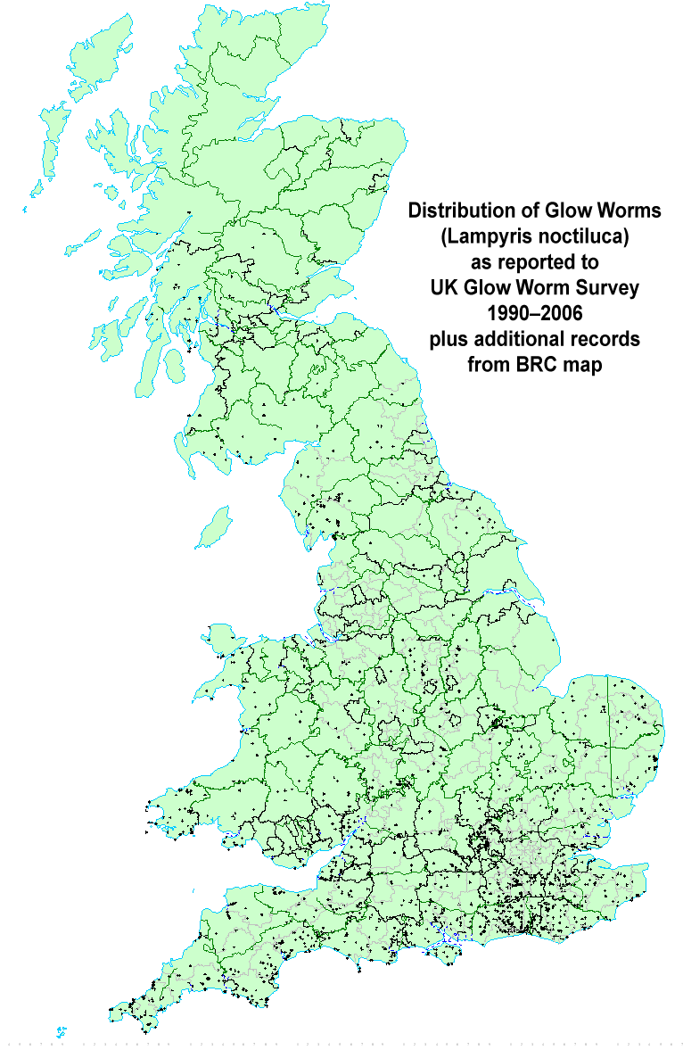 Map Of England For Ks1.Uk Glow Worm Survey Home Page